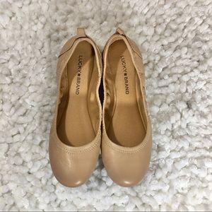 Lucky Brand (Eleesia) Leather Nude Ballet Flats